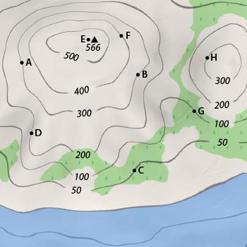 Karte Orientierung Hohenlinien 2